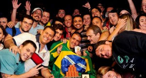 Event 43 bracelet winner Andre Akkari poses with his Brazilian contingent.
